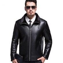 Новинка, мужской меховой кожаный жакет, пальто высокого качества, теплые мужские s, большие размеры, пальто из овчины