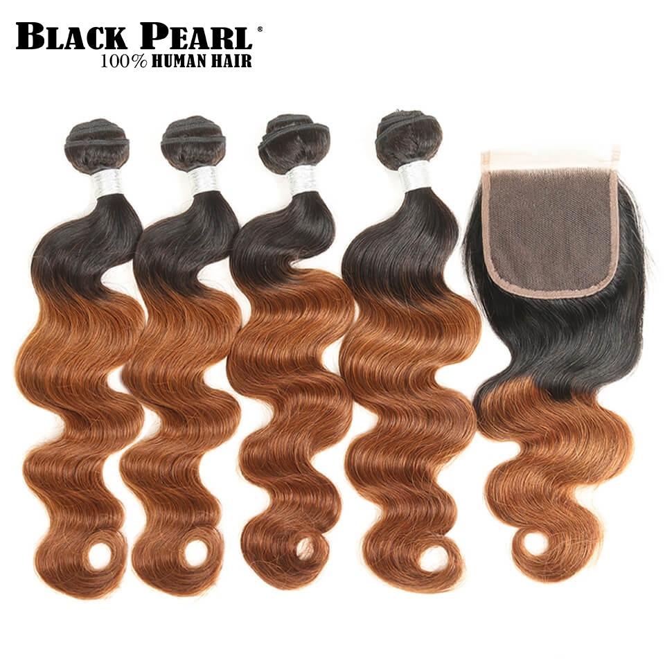 Black Pearl Pre-Colored Brazilian Hair Weave Bundles with Closure Remy Ombre Brown Human Hair Bundles 4pcs 4x4 Lace Closure