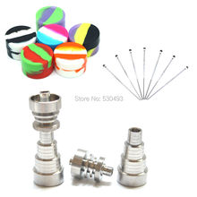 1 set Domeless 6 IN 1GR2 Titanium Nail 10/14/18mm – Male/Female Dabber Carb Cap Silicone Jar Container Free Shipping