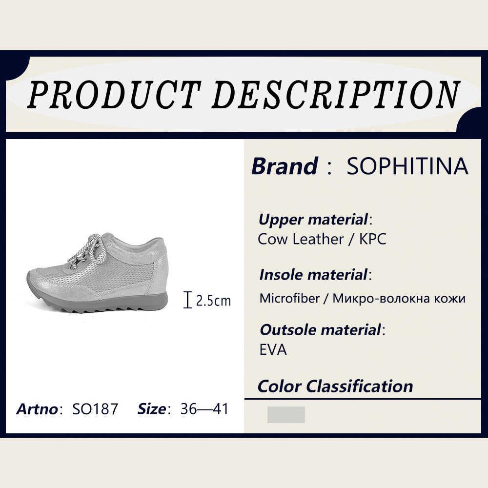 Sophitina Xám Cổ Bãi Nhẹ Nhàng Thoải Mái EVA Đế Ngoài Người Phụ Nữ Giày Mũi Tròn Handmade Cao Cấp Cột Dây Đế Bằng Nữ SO187