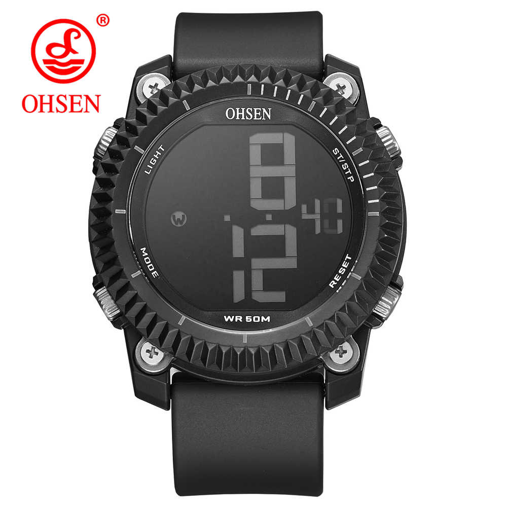 OHSEN Men Sports Watches Big Numbers Stopwatch Watch Alarm Chrono Digital Wristwatches 50M Waterproof Relogio Masculino 1710