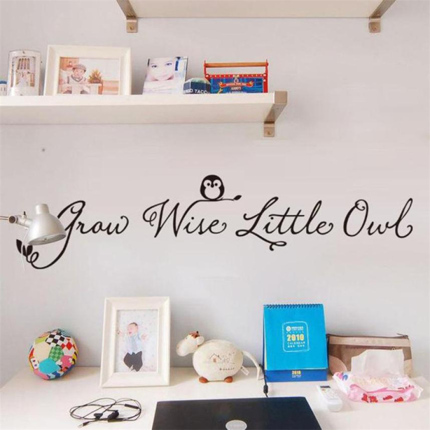 Wallpaper Sticker Grow With Little Owl English Vinyl Wall Decals Wall Stickers Home Decor Wallpapers For Living Room 2018 B#