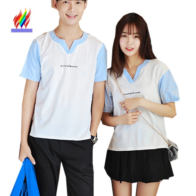 523f8ac2bc Korean Japanese Cute Clothes For Lovers Men Women Couples Summer Preppy  Style Patchwork V Neck Tops