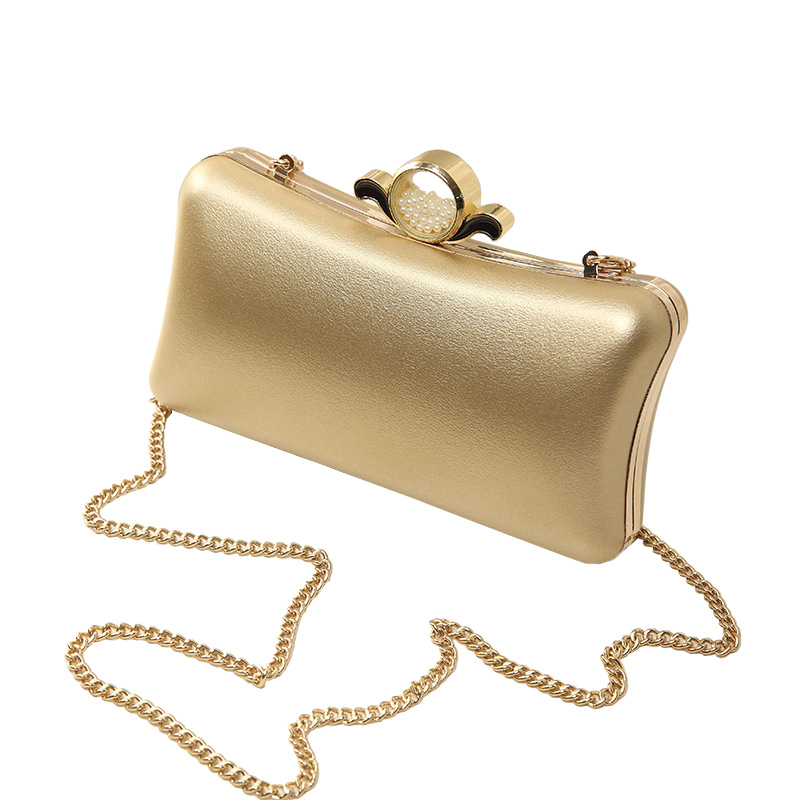 Luxury Gold Silver Evening Purse font b Women b font Pink PU Leather Pearl Hand font