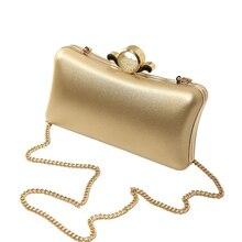 Bolso de Noche de Plata de Oro Rosa de Las Mujeres de LA PU de Cuero de lujo de La Perla Del Bolso de Mano Bolsos de Embrague de Hombro de la Cadena bolso bolso léren XA841H