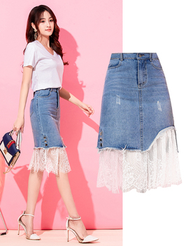 2020 denim skirt women lace patchwork pattern a line jean skirts tulle skirt wrap skirt white lace skirt pencil skirt фото