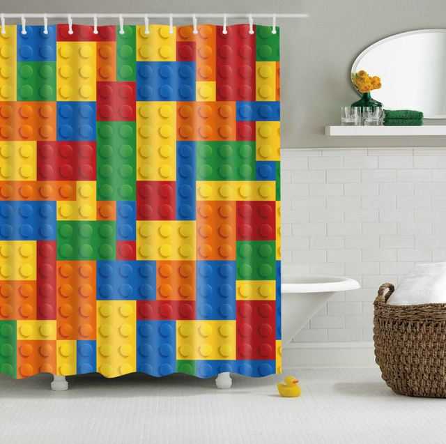 colorful lego blocks curtains waterproof bathroom curtains polyester 180x180cm decoration with hooks - Colorful Shower Curtains