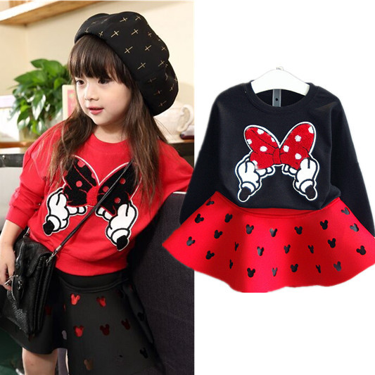 2015 New Fashion Girls Clothing Set Minnie T shirt + Skirt 2pcs/set dot bow point suit long-sleeved autumn kids free shipping