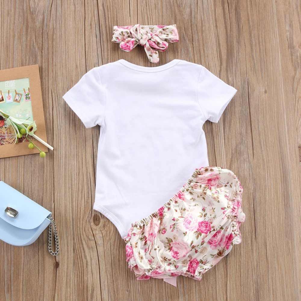 Puseky 3 ADET Sevimli Yenidoğan Bebek Kız Giysileri 2018 Değer Bekleme Bebek Bodysuit Romper + Ruffles Tutu Etek Şort kafa Kıyafetleri