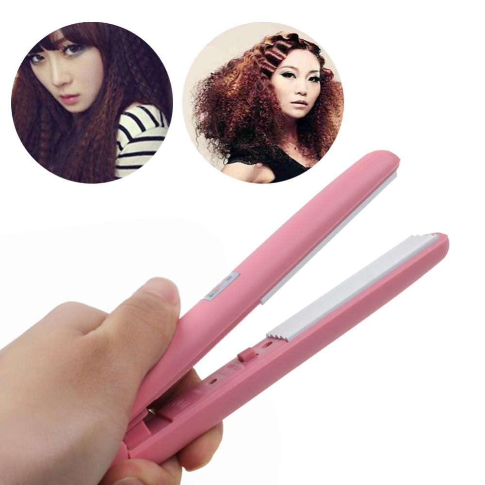 New design Mini Curls Hair straightener Iron Pink Ceramic Straightening Corrugate Curling Iron Styling Tools Hair Curler Hot