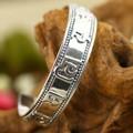 925 Silver Bangle Handmade Tibetan OM Mani Padme Hum Bracelet 925 Silver OM Bracelet Buddhist Jewelry Bangle