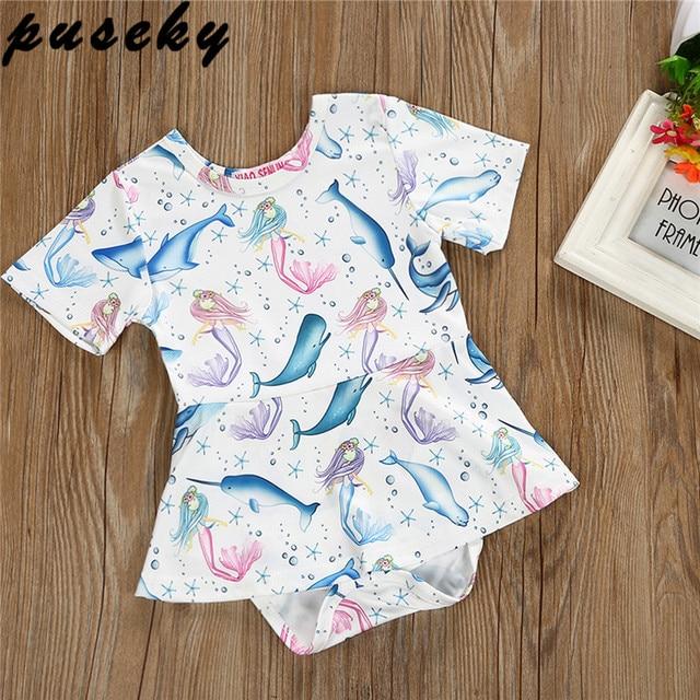 11ab62174bbf Puseky Newborn Baby Girl Romper Dress 2018 New Summer Fashion Dolphin Print  Jumpsuit Short Sleeve Playsuit Dress 0-2Y. 1 order
