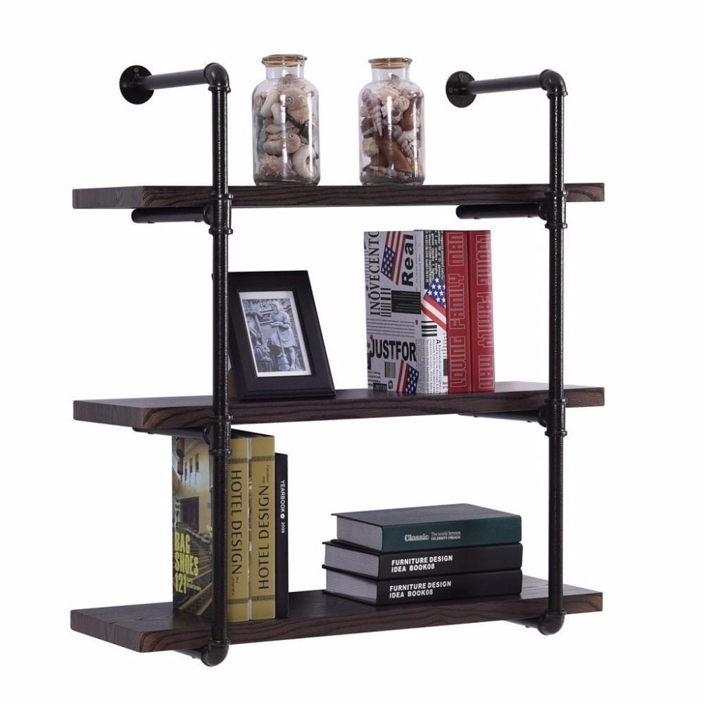 4-Layer Wall Mounted Vintage Industrial Pipe Shelf Living Room DIY Decor Floating Shelf Hanging Metal Brackets Storage Bookcase
