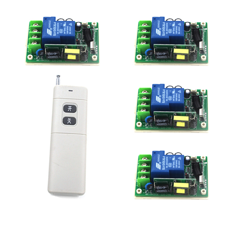 New Wireless Remote Control Light Lamp Switch 1 Set Remote Control Switch Wireless 1 Controller with 4 Receiver 4138 2pcs receiver transmitters with 2 dual button remote control wireless remote control switch led light lamp remote on off system