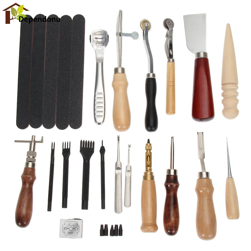 18pcs Leather Craft Punch Tools Kit Stitching Carving Working Sewing Saddle Groover Leather Drilling Grinding Tool DIY Stamp kit 5pcs u v shaped working hand leather trench stitching groover skiving edge diy craft keen edge beveler leathercraft tools kit