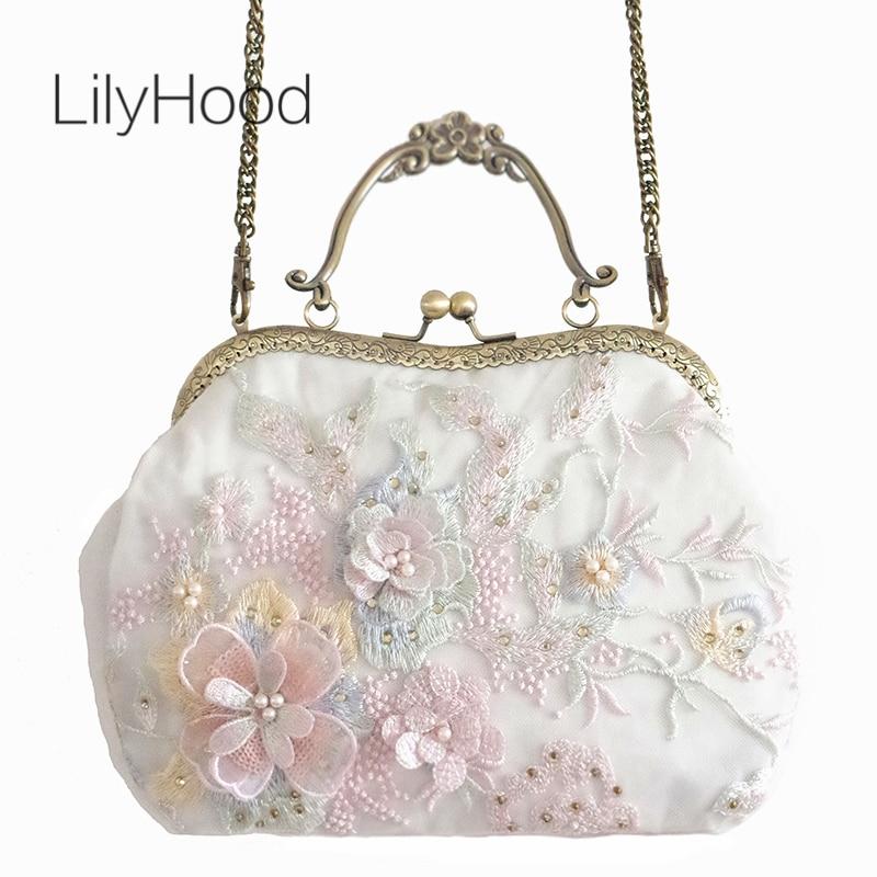 все цены на LilyHood 2018 Summer Women Floral Embroidery Pink Shoulder Bag Lady Handmade Lace Cover Diamonds Kisslock Chain Crossbody Bag
