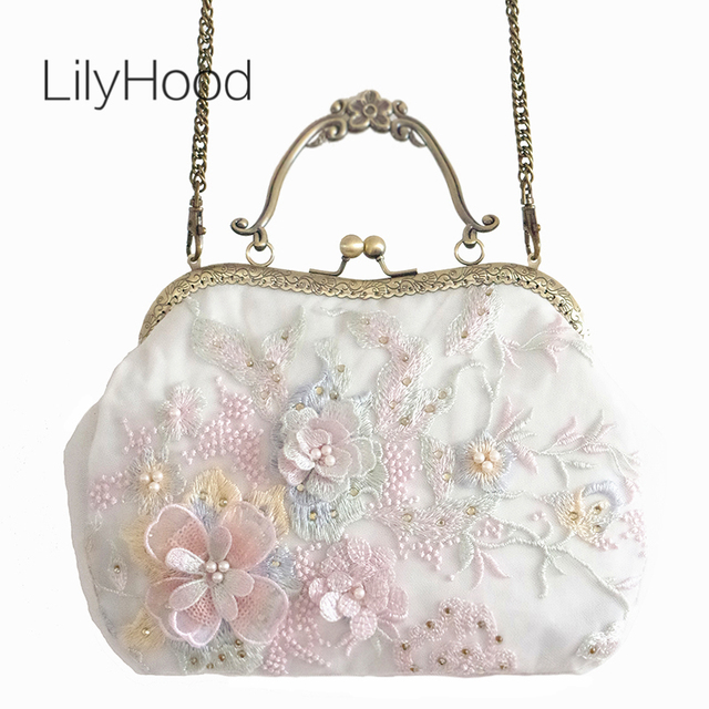 LilyHood 2018 Summer Women Floral Embroidery Pink Shoulder Bag Lady  Handmade Lace Cover Diamonds Kisslock Chain Crossbody Bag dbe781a760c2