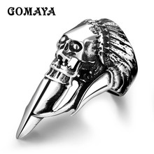 GOMAYA 316L Stainless Steel Biker Punk Halloween Jewelry Anel Ghost Rider Hip hop Wholesale Skeleton Mens Rings