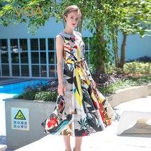 VOA 2017 Summer Sleeveless Multicolor Boho Silk A-line Long Dress Plus Size High Waist Belts Casual Women Maxi Dress ALX08003