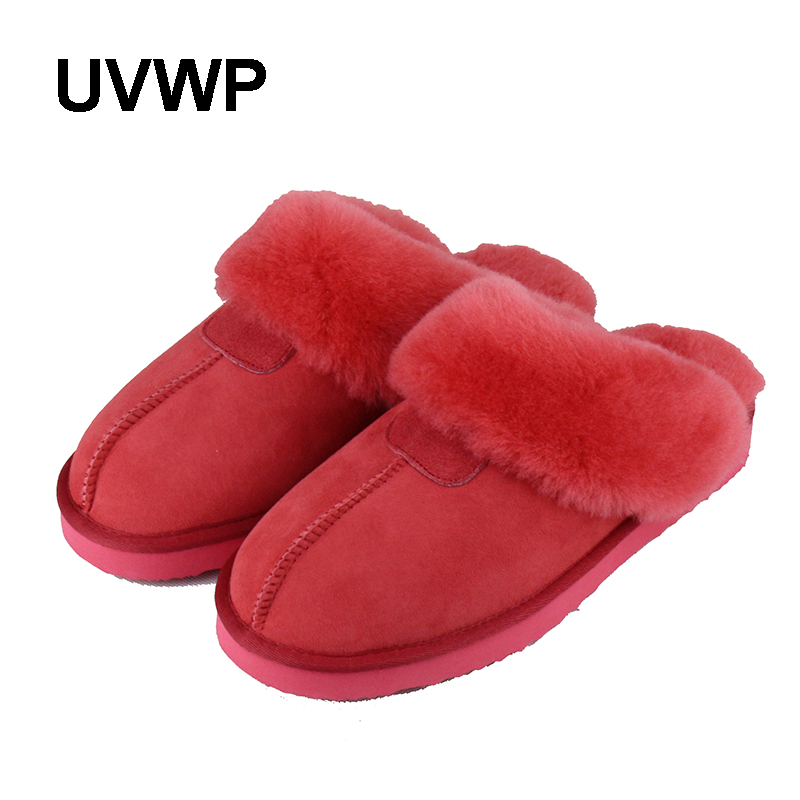 UVWP Fashion Warm sheepskin natural fur slippers women home shoes winter suede slippers woman indoor shoes
