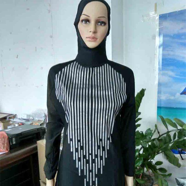 88ec1c6a98342 Islamic Women Swimsuit Plus Size Geometric Printed Patchwork Muslim  Swimwear Full Coverage Ladies Swim Bathing Suit