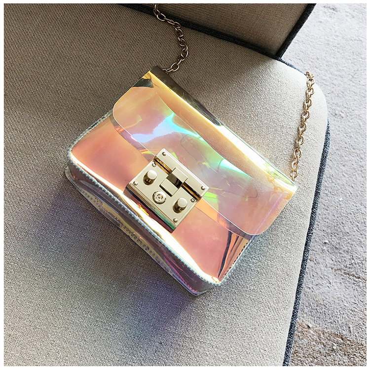 2018 Newest Fashion casual messenger bag brand bags style women handbag flap candy Transparent PVC leather cross body