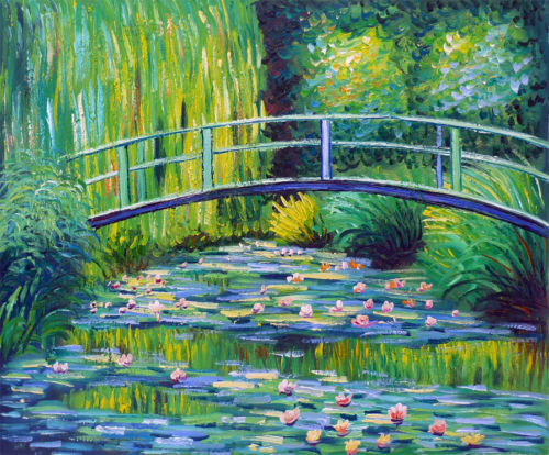 BRIDGE OVER THE WATER LILY POND Oil Painting 755-in