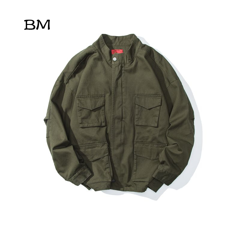 Tenue décontracté américain outillage veste japonais rétro mode manteau streetwear Bomber veste hommes multi-poches style militaire vêtements