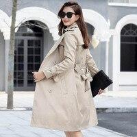 Plus Size 6XL 7XL Fashion Long Windbreaker Women Coat Elegant Office Ladies Slim Overcoat Casual Female Trench Coats LP465