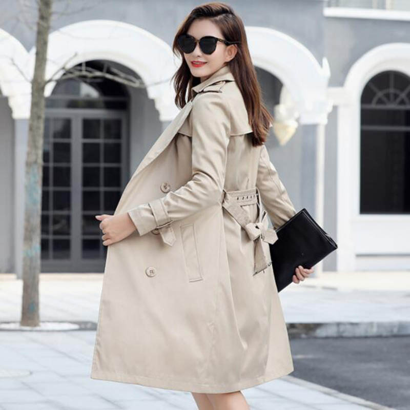 Plus Size 6XL <font><b>7XL</b></font> Fashion Long Windbreaker Women <font><b>Coat</b></font> Elegant Office Ladies Slim Overcoat Casual Female Trench <font><b>Coats</b></font> LP465 image