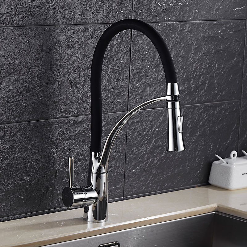 DONYUMMYJO Kitchen Faucet Pull Out Water Tap 3 Colors available Mixer Faucet Deck Mounted Single Handle Chrome Brass ZR668 donyummyjo brass sink pull out kitchen faucet hot cold mixer water tap deck mounted single hole single handle polished 8023