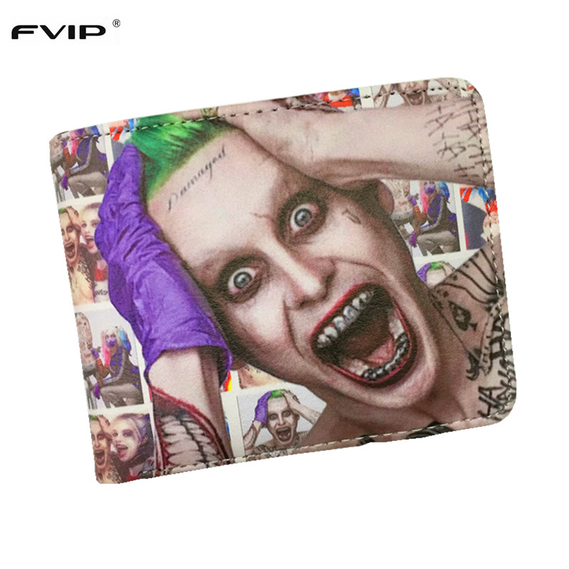 FVIP DC Comics Wallet Movies Suicide Squad The Joker Harley Quinn Enchantress And Bat Man Short Wallets With Card Holder Purse fvip high quality short wallet harry potter game of thrones suicide squad wonder women tokyo ghoul men s wallets women purse