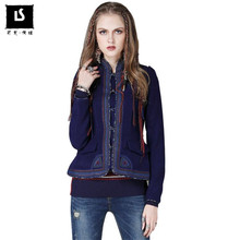 Women Autumn winter Wool Coat Original Design National style embroidery woolen jacket Short thicken Woolen Coats casaco feminino(China)