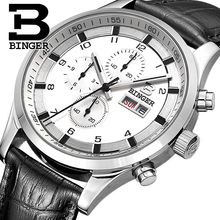 스위스 남자 시계 사파이어 BINGER 시계 남자 브랜드 럭셔리 쿼츠 남자 시계 방수 빛나는 손목 시계 크로노 그래프