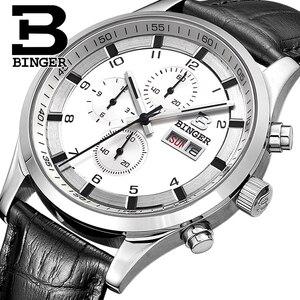 Image 1 - שוויץ גברים של שעונים ספיר BINGER שעון גברים מותג יוקרה קוורץ זכר שעון עמיד למים זוהר שעוני יד הכרונוגרף