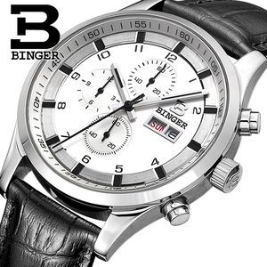 Image 1 - Switzerland Mens Watches Sapphire BINGER Watch Men Brand Luxury Quartz Male Watch Waterproof Luminous Wristwatches Chronograph