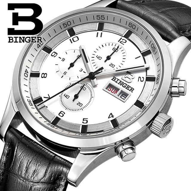 Switzerland Mens Watches Sapphire BINGER Watch Men Brand Luxury Quartz Male Watch Waterproof Luminous Wristwatches Chronograph