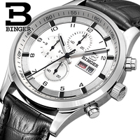 Switzerland Men's Watches Sapphire BINGER Watch Men Brand Luxury Quartz Male Watch Waterproof Luminous Wristwatches Chronograph