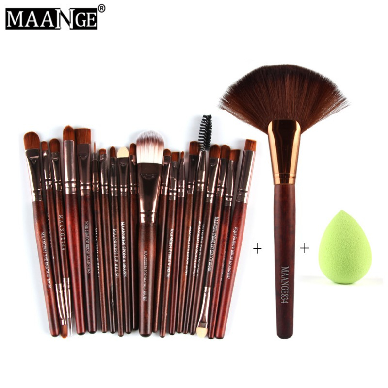 MAANGE 3Color 22Pcs Pro Eyeshadow Powder Foundation Eyeliner Lip Facial Makeup Brushes Set Sponge Puff Fan Brush Cosmetic Tools candy color calabash shaped cosmetic makeup cotton pads sponge puff pink