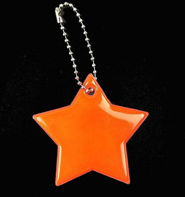 Маленькая звезда сумка брелок милый мягкий ПВХ отражающий брелок, подвеска для машины Шарм сумка Аксессуары для безопасности дорожного движения использования - Название цвета: orange red
