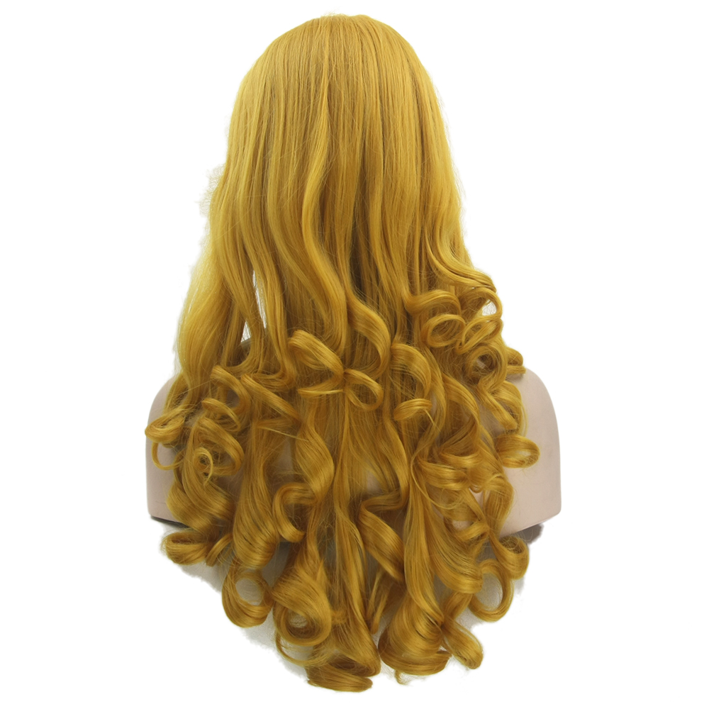 Soowee Long Curly Synthetic Hair Yellow Golden Wigs High Temperature Fiber Women's Party Hair Cosplay Wig Hairpiece