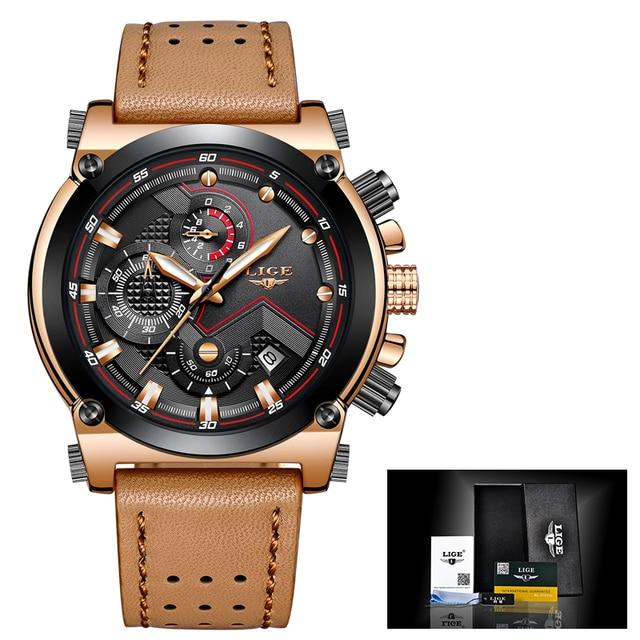 Men Watch Male Leather Automatic date Quartz Watches Mens Luxury Brand Waterproof Sport watch 5