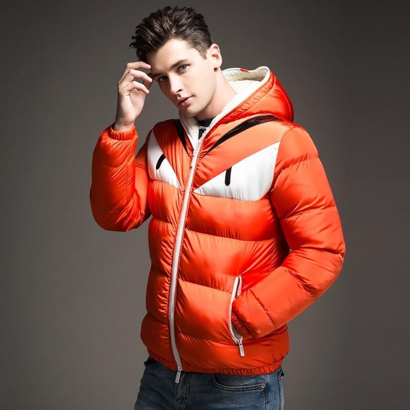 Nuevo diseño de moda 2018 chaqueta de invierno para hombre gran contraste de Ojos de algodón acolchado Parka Puffer con capucha Veste Homme Hiver - 3