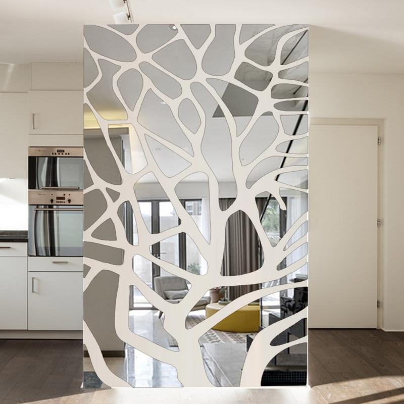 US $17.25 31% di SCONTO|Rimovibile 3d fai da te parete a specchio adesivi  albero di soggiorno camera da letto decorazione TV sfondo decorazione della  ...