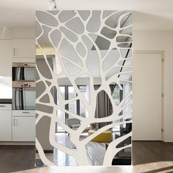Zdejmowane 3d diy naklejki ścienne z efektem lustra drzewo sypialnia salon dekoracja dekoracyjna aranżacja ściany z telewizorem naklejki akrylowe lustro wklej tanie i dobre opinie DXLYMYU CN (pochodzenie) 3d naklejki Kreatywny Do płytek Naklejki na meble Do lodówki For Wall Paczka z wieloma częściami