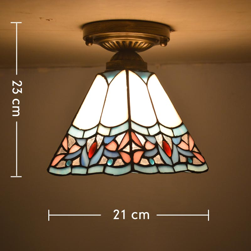 Tiffany Ceiling Light Stained Glass Shade Art Deco Style Bedroom Home Lighting E27 110 240V in Ceiling Lights from Lights Lighting