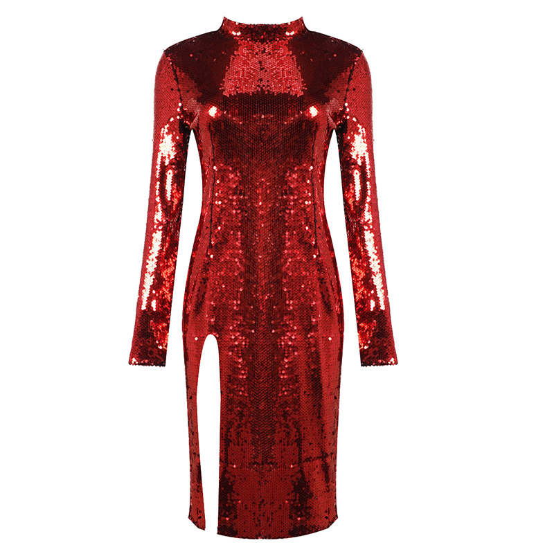 High Quality Red Long Sleeve Bright Open Fork Dress Club Party Bodycon Dress
