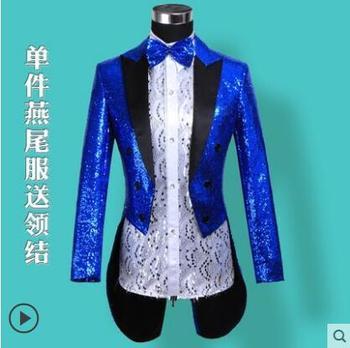 Blue clothes men Tuxedo suits designs masculino homme stage costumes singers jacket men sequins blazer dance star style dress