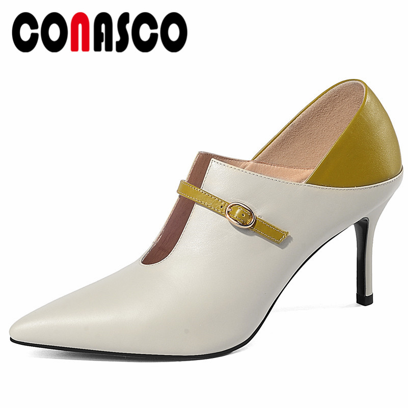 CONASCO New Women Basic Pumps Classic Design Genuine Leather High Heels Party Wedding Shoes Woman Sexy Pointed Toe Office Pumps CONASCO New Women Basic Pumps Classic Design Genuine Leather High Heels Party Wedding Shoes Woman Sexy Pointed Toe Office Pumps