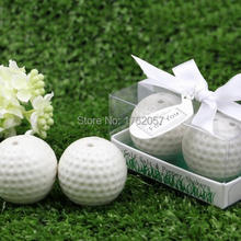 Lowest price 20pcs=10boxes New Wedding Favors White Golf Ball Salt and Pepper Shakers Bridal Shower